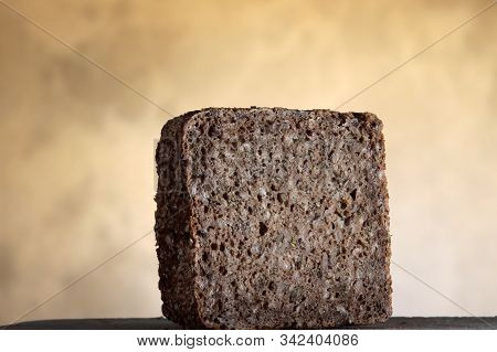Slice Of Danish Rye Bread Or Rugbroed As Named In Danish