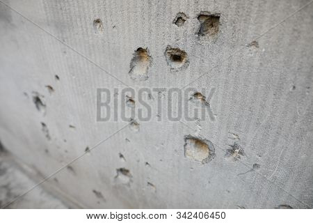 Details With Bullet Holes In A Wall From The Romanian Anti Communist Revolution From 1989.