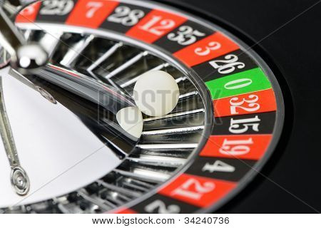Roulette Wheel In Casino Closeup