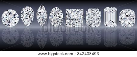 Set Of Sparkling Water Clear Diamonds Of Various Cut Shape. Top View