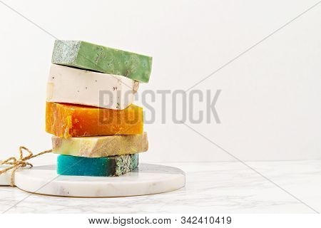 Handmade Natural Soap, Eco Friendly Spa, Beauty Skincare Concept. Small Business, Ethical Shopping I