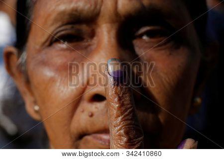 Uttar Pradesh,india,april 2019,an Old Women Shows Her Index Finger After She Casting Her Vote