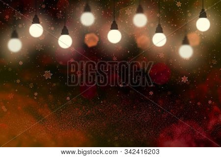 Cute Brilliant Abstract Background Glitter Lights With Light Bulbs And Falling Snow Flakes Fly Defoc