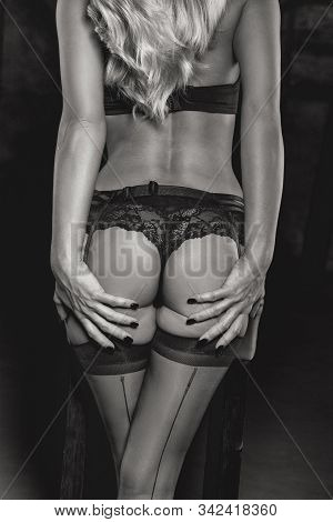 Sensual Erotic Blonde Woman In Underwear Body At Night, Black And White, Back View, Holding Ass, Cin