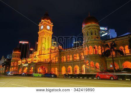 Kuala Lumpur, Malaysia - November 8, 2019: Night Scene Of Sultan Abdul Samad Building In Kuala Lumpu