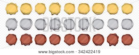 Wax Seals, Golden And Silver Stamps, Vector Realistic Warranty Labels. Shiny Gold And Red Wax Stamp