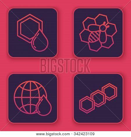 Set Line Honeycomb, Honeycomb Map Of The World, Bee And Honeycomb And Honeycomb. Blue Square Button.