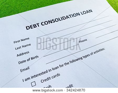 Debt Consolidation Loan Document With Graph On Table