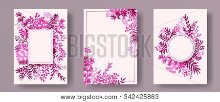 Tropical Herb Twigs, Tree Branches, Flowers Floral Invitation Cards Templates. Plants Borders Creati