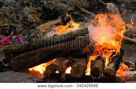 A Funeral Pyre Burning Intensely At Swargadwar Crematorium,puri,odisha State,india.