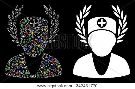 Flare Mesh Doctor Laurel Wreath Icon With Sparkle Effect. Abstract Illuminated Model Of Doctor Laure