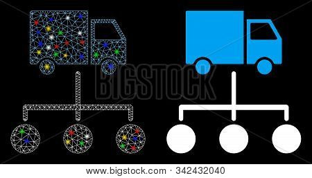 Flare Mesh Truck Distribution Links Icon With Glow Effect. Abstract Illuminated Model Of Truck Distr