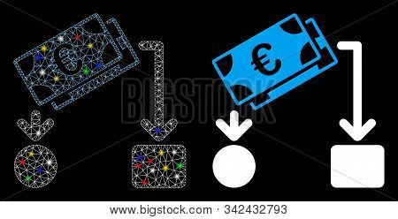 Glowing Mesh Euro Cash Flow Icon With Glow Effect. Abstract Illuminated Model Of Euro Cash Flow. Shi