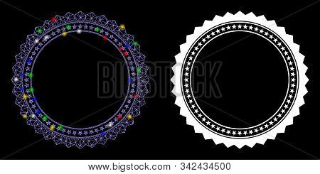 Glossy Mesh Rosette Circular Star Frame Icon With Lightspot Effect. Abstract Illuminated Model Of Ro