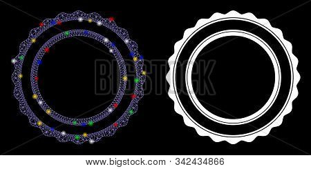 Bright Mesh Double Rosette Circular Frame Icon With Sparkle Effect. Abstract Illuminated Model Of Do