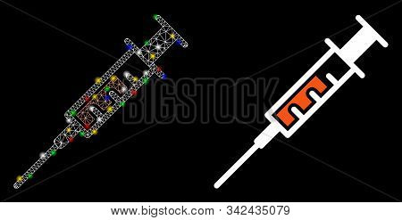 Glowing Mesh Syringe Icon With Glitter Effect. Abstract Illuminated Model Of Syringe. Shiny Wire Fra