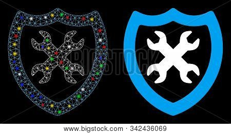 Bright Mesh Security Configuration Icon With Glitter Effect. Abstract Illuminated Model Of Security
