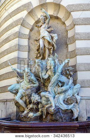 Fountain The Power Of The Sea Near The Hofburg Palace In Vienna Austria