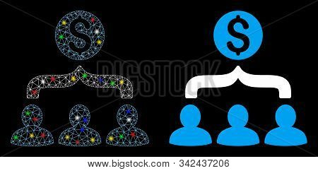 Glossy Mesh Sales Funnel Icon With Glow Effect. Abstract Illuminated Model Of Sales Funnel. Shiny Wi