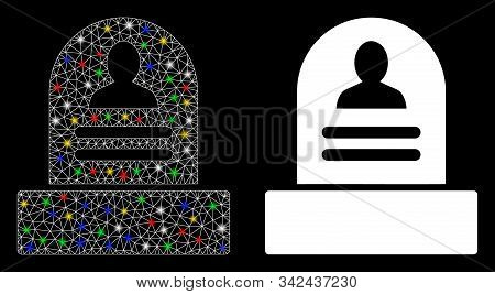 Glossy Mesh Rip Monument Icon With Glare Effect. Abstract Illuminated Model Of Rip Monument. Shiny W