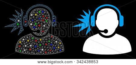 Glossy Mesh Operator Headphones Signal Icon With Glare Effect. Abstract Illuminated Model Of Operato