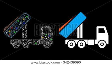 Glowing Mesh Unloading Tipper Icon With Lightspot Effect. Abstract Illuminated Model Of Unloading Ti