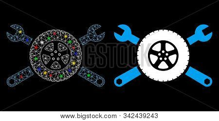 Glowing Mesh Tire Service Wrenches Icon With Lightspot Effect. Abstract Illuminated Model Of Tire Se