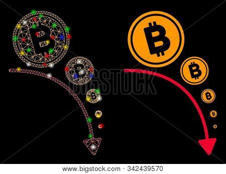 Glowing Mesh Bitcoin Deflation Trend Icon With Glare Effect. Abstract Illuminated Model Of Bitcoin D