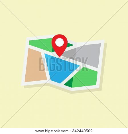 Map Icon, Map Design, Map Vector, Map Illustration, Map Location Navigation, Map And Pin, Flat Desig