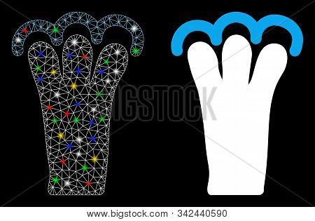 Glowing Mesh Grab Gesture Icon With Glitter Effect. Abstract Illuminated Model Of Grab Gesture. Shin