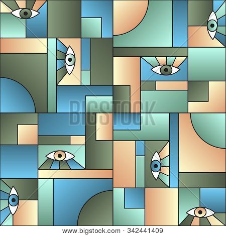 Abstract pattern with eyes in geometric shapes grid mondrian avant garde fashion textile print. Modern background design. Open eyes bauhaus geometric seamless pattern. Interior vector design. poster
