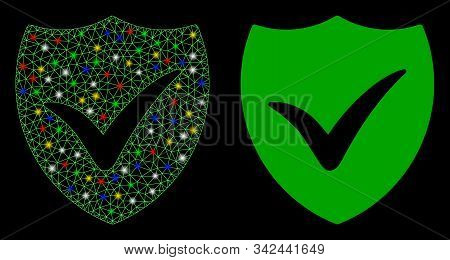 Glowing Mesh Shield Valid Icon With Glare Effect. Abstract Illuminated Model Of Shield Valid. Shiny