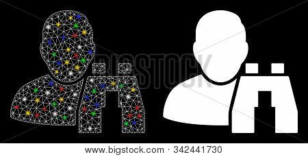 Flare Mesh User Binoculars Search Tool Icon With Glare Effect. Abstract Illuminated Model Of User Bi