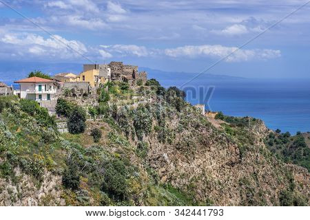 Aerial View In Savoca Village On Sicily Island In Italy