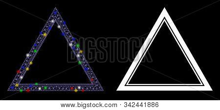 Glowing Mesh Double Triangle Frame Icon With Sparkle Effect. Abstract Illuminated Model Of Double Tr
