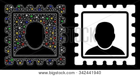 Glowing Mesh Postal Mark Icon With Glow Effect. Abstract Illuminated Model Of Postal Mark. Shiny Wir
