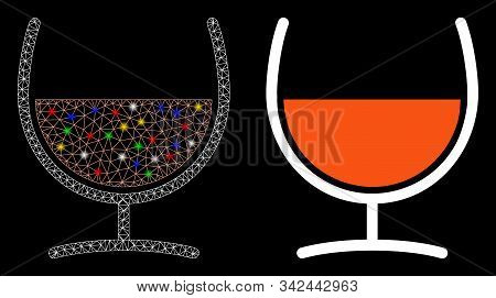 Glossy Mesh Remedy Glass Icon With Lightspot Effect. Abstract Illuminated Model Of Remedy Glass. Shi
