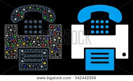 Glossy Mesh Fax Icon With Glitter Effect. Abstract Illuminated Model Of Fax. Shiny Wire Frame Triang