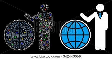 Flare Mesh Planetary Manager Icon With Glitter Effect. Abstract Illuminated Model Of Planetary Manag