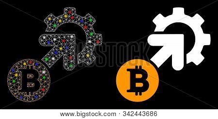 Glossy Mesh Bitcoin Integration Cog Icon With Sparkle Effect. Abstract Illuminated Model Of Bitcoin