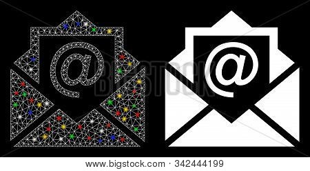 Glowing Mesh Email Icon With Lightspot Effect. Abstract Illuminated Model Of Email. Shiny Wire Frame