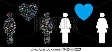 Glowing Mesh Lesbi Love Pair Icon With Lightspot Effect. Abstract Illuminated Model Of Lesbi Love Pa