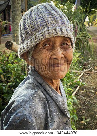 Old Asian Woman, Portrait Of Cheerful Senior Women
