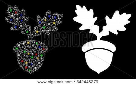 Glossy Mesh Oak Acorn Icon With Lightspot Effect. Abstract Illuminated Model Of Oak Acorn. Shiny Wir
