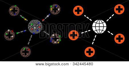 Flare Mesh Global Medical Relations Icon With Sparkle Effect. Abstract Illuminated Model Of Global M