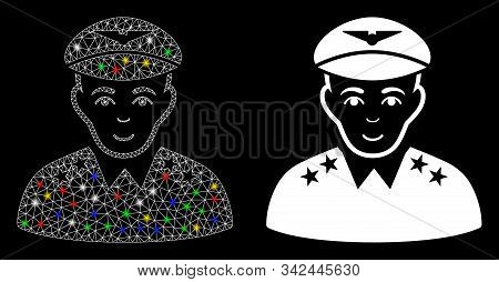 Glowing Mesh Military Pilot Officer Icon With Sparkle Effect. Abstract Illuminated Model Of Military