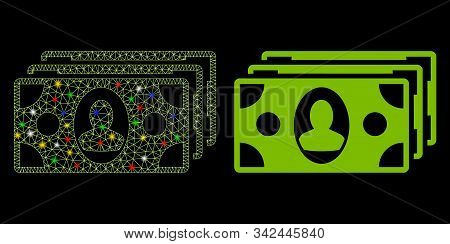 Glossy Mesh Banknotes Icon With Sparkle Effect. Abstract Illuminated Model Of Banknotes. Shiny Wire