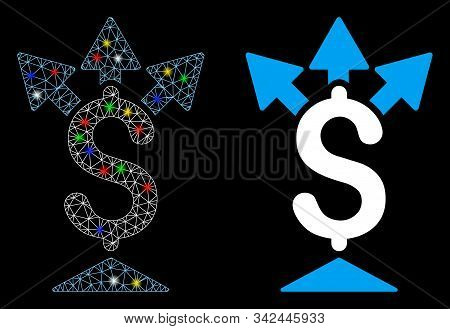 Glossy Mesh Split Payment Icon With Lightspot Effect. Abstract Illuminated Model Of Split Payment. S