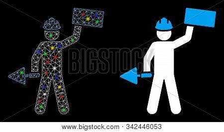 Glossy Mesh Brickwork Builder Icon With Lightspot Effect. Abstract Illuminated Model Of Brickwork Bu