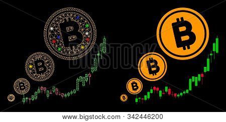 Glossy Mesh Bitcoin Inflation Chart Icon With Lightspot Effect. Abstract Illuminated Model Of Bitcoi